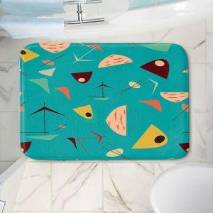 Decorative Bathroom Mats | Nika Martinez - Mid Century Hero Blue