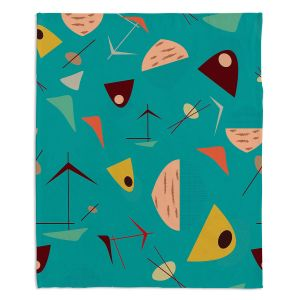 Artistic Sherpa Pile Blankets | Nika Martinez - Mid Century Hero Blue