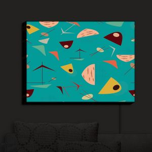 Nightlight Sconce Canvas Light | Nika Martinez - Mid Century Hero Blue | Patterns