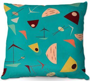 Decorative Outdoor Patio Pillow Cushion   Nika Martinez - Mid Century Hero Blue
