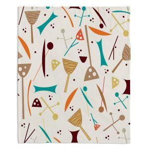 Decorative Fleece Throw Blankets | Nika Martinez - Mid Century Hero Cream