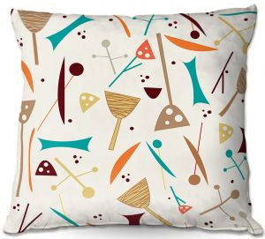 Decorative Outdoor Patio Pillow Cushion   Nika Martinez - Mid Century Hero Cream