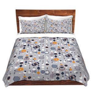 Artistic Duvet Covers and Shams Bedding   Nika Martinez - Mid Century Hexagons 2   modern pattern shapes geometric