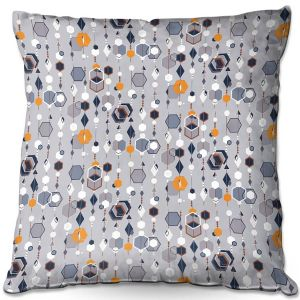 Decorative Outdoor Patio Pillow Cushion | Nika Martinez - Mid Century Hexagons 2 | modern pattern shapes geometric