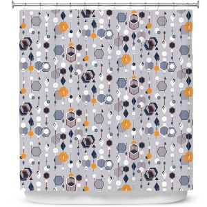 Premium Shower Curtains | Nika Martinez - Mid Century Hexagons 2 | modern pattern shapes geometric