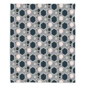 Decorative Fleece Throw Blankets | Nika Martinez - Mid Century Hexagons 3 | modern pattern shapes geometric