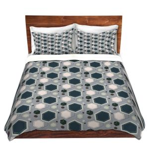 Artistic Duvet Covers and Shams Bedding   Nika Martinez - Mid Century Hexagons 3   modern pattern shapes geometric