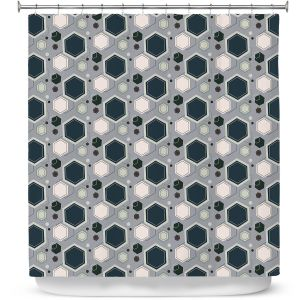 Premium Shower Curtains | Nika Martinez - Mid Century Hexagons 3 | modern pattern shapes geometric