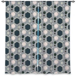 Decorative Window Treatments | Nika Martinez - Mid Century Hexagons 3 | modern pattern shapes geometric