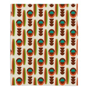 Decorative Fleece Throw Blankets | Nika Martinez - Mid Century Modern Orange