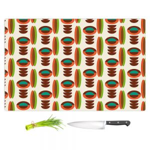 Artistic Kitchen Bar Cutting Boards | Nika Martinez - Mid Century Modern Orange