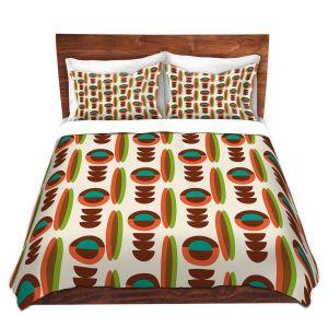 Artistic Duvet Covers and Shams Bedding   Nika Martinez - Mid Century Modern Orange