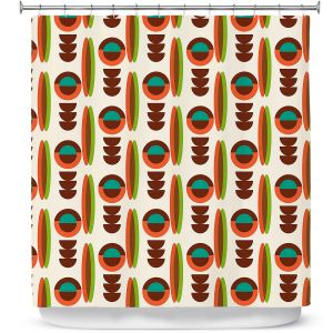Premium Shower Curtains | Nika Martinez - Mid Century Modern Orange