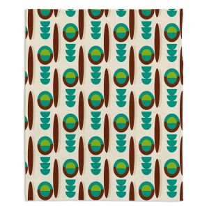 Decorative Fleece Throw Blankets | Nika Martinez - Mid Century Modern Turquoise