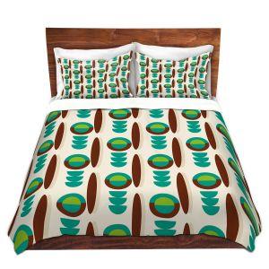 Artistic Duvet Covers and Shams Bedding | Nika Martinez - Mid Century Modern Turquoise
