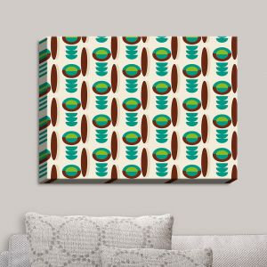 Decorative Canvas Wall Art | Nika Martinez - Mid Century Modern Turquoise | Patterns