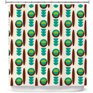 Premium Shower Curtains | Nika Martinez - Mid Century Modern Turquoise