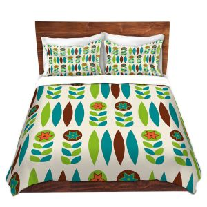 Artistic Duvet Covers and Shams Bedding | Nika Martinez - Mid Century Spring Floral