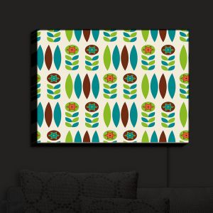 Nightlight Sconce Canvas Light | Nika Martinez - Mid Century Spring Floral | Patterns