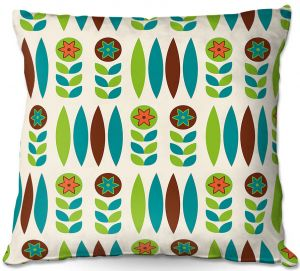 Decorative Outdoor Patio Pillow Cushion   Nika Martinez - Mid Century Spring Floral