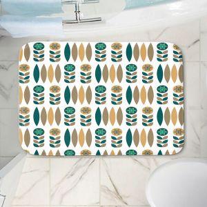 Decorative Bathroom Mats | Nika Martinez - Mid Century Winter Floral