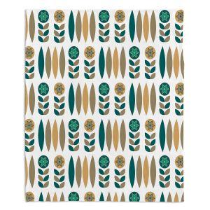 Decorative Fleece Throw Blankets | Nika Martinez - Mid Century Winter Floral