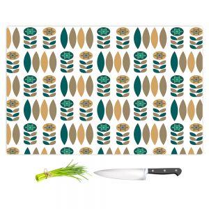 Artistic Kitchen Bar Cutting Boards | Nika Martinez - Mid Century Winter Floral