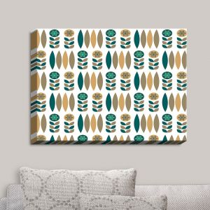 Decorative Canvas Wall Art | Nika Martinez - Mid Century Winter Floral | Patterns