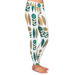 Casual Comfortable Leggings | Nika Martinez - Mid Century Winter Floral