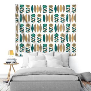 Artistic Wall Tapestry | Nika Martinez - Mid Century Winter Floral