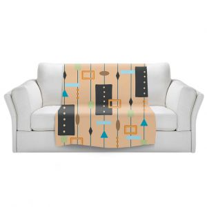 Artistic Sherpa Pile Blankets | Nika Martinez - Mid Century Cubes 2 | Square Pattern