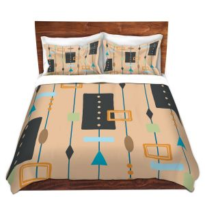 Artistic Duvet Covers and Shams Bedding   Nika Martinez - Mid Century Cubes 2   Square Pattern