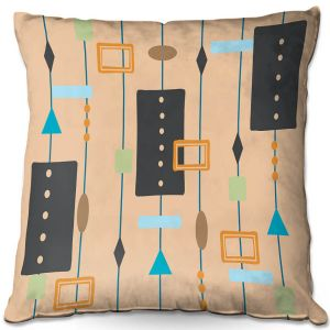 Decorative Outdoor Patio Pillow Cushion | Nika Martinez - Mid Century Cubes 2 | Square Pattern