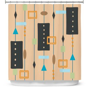 Premium Shower Curtains | Nika Martinez - Mid Century Cubes 2