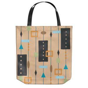 Unique Shoulder Bag Tote Bags | Nika Martinez - Mid Century Cubes 2 | Square Pattern