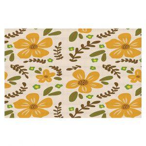 Decorative Floor Covering Mats | Nika Martinez - Mid Century Florals 2 | Floral Flowers Patterns