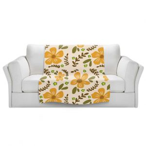 Artistic Sherpa Pile Blankets | Nika Martinez - Mid Century Florals 2 | Floral Flowers Patterns