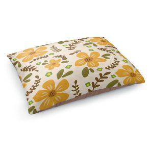 Decorative Dog Pet Beds   Nika Martinez - Mid Century Florals 2   Floral Flowers Patterns