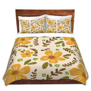 Artistic Duvet Covers and Shams Bedding | Nika Martinez - Mid Century Florals 2 | Floral Flowers Patterns