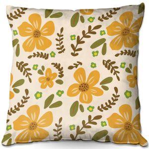 Decorative Outdoor Patio Pillow Cushion   Nika Martinez - Mid Century Florals 2   Floral Flowers Patterns