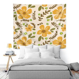 Artistic Wall Tapestry | Nika Martinez - Mid Century Florals 2 | Floral Flowers Patterns