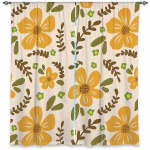 Decorative Window Treatments | Nika Martinez - Mid Century Florals 2 | Floral Flowers Patterns