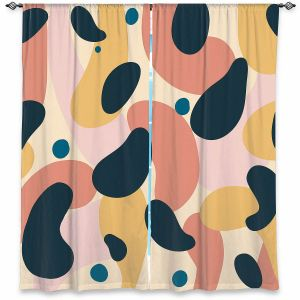 Decorative Window Treatments | Nika Martinez - Mid Century Voyage 2 | Tear Drop Patterns