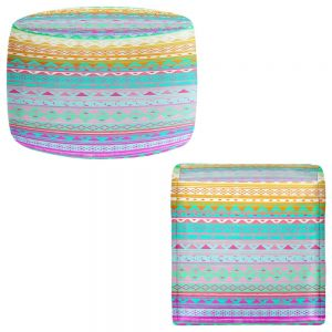 Round and Square Ottoman Foot Stools | Nika Martinez - Summer Bandana