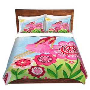 Artistic Duvet Covers and Shams Bedding | nJoy Art - Pink Flower Fairy