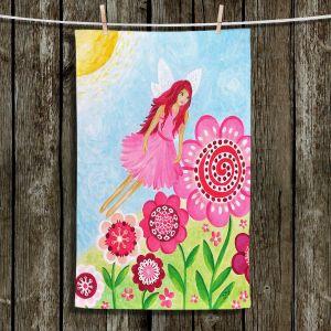Unique Hanging Tea Towels   nJoy Art - Pink Flower Fairy   Flowers Make Believe Fairies Child Like