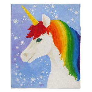 Artistic Sherpa Pile Blankets | nJoy Art - Rainbow Unicorn l