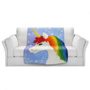 Artistic Sherpa Pile Blankets   nJoy Art - Rainbow Unicorn l