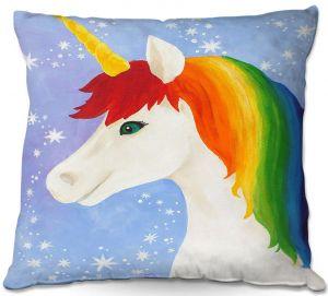 Decorative Outdoor Patio Pillow Cushion   nJoy Art - Rainbow Unicorn l
