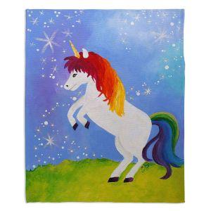 Decorative Fleece Throw Blankets | nJoy Art - Rainbow Unicorn ll
